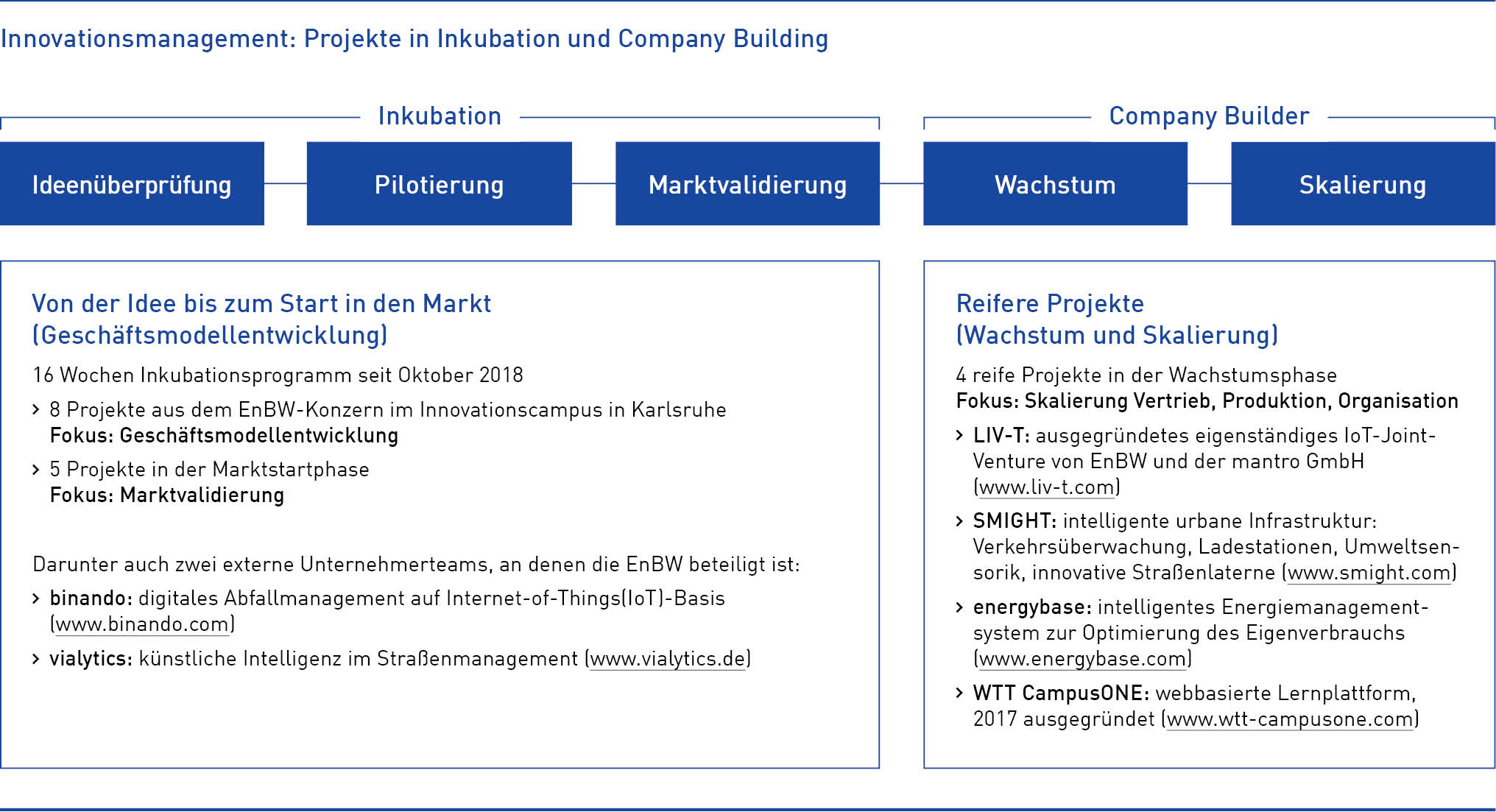 Innovationsmanagement Projekte in Inkubation und Company Building