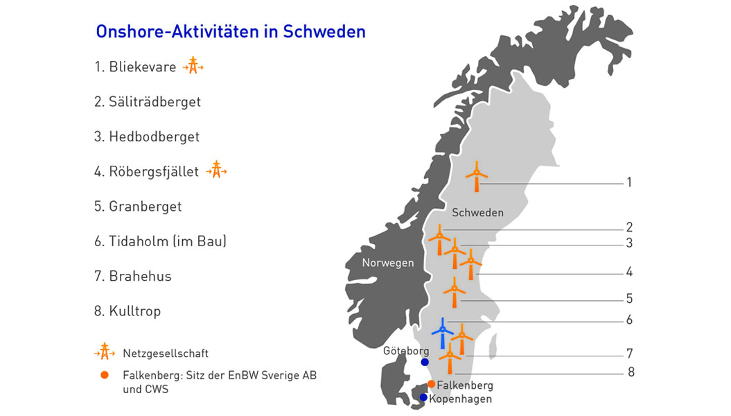 Map Onshore activities in Sweden (on request also available as .ai file)