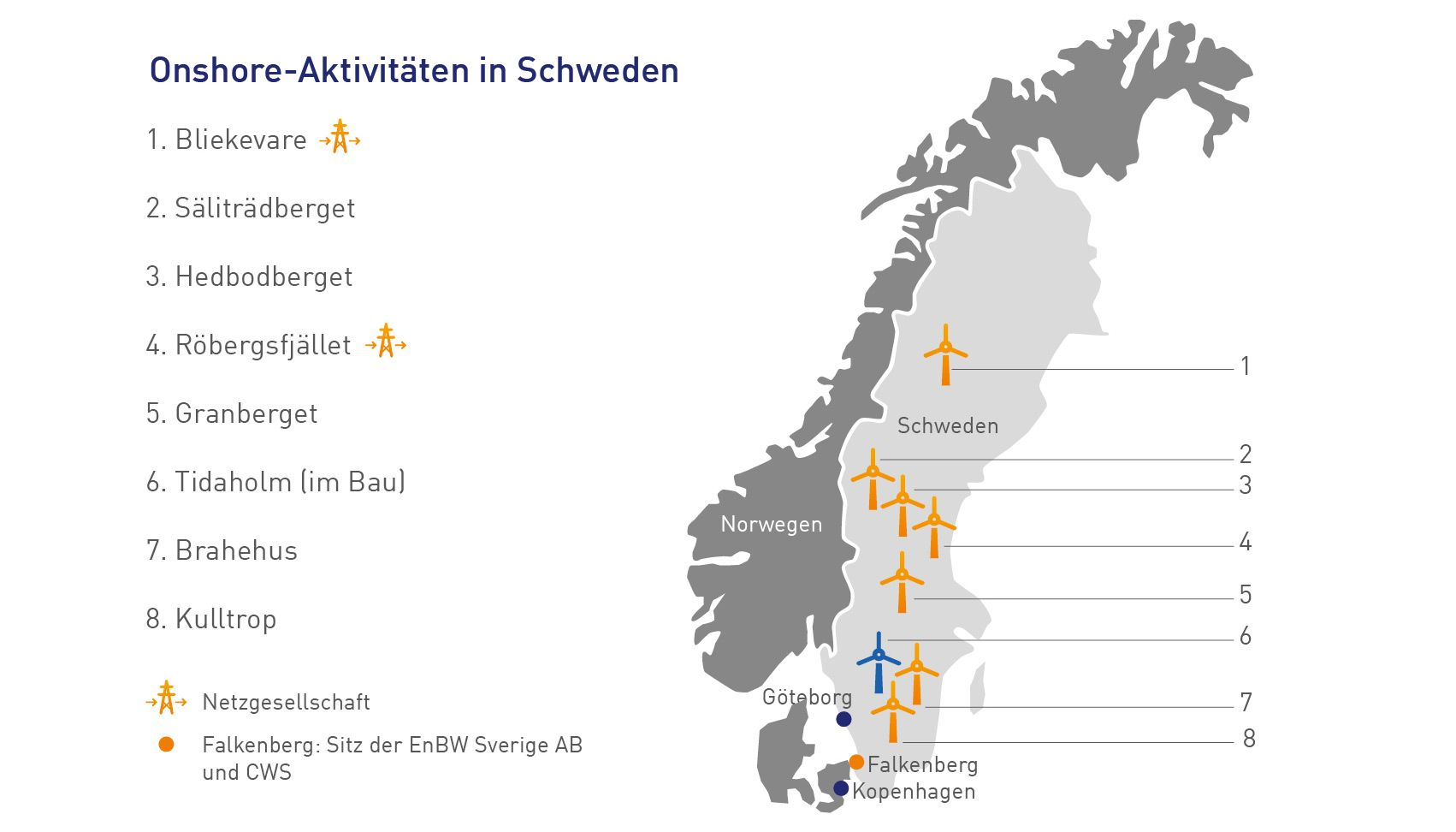 Map Onshore activities in Sweden