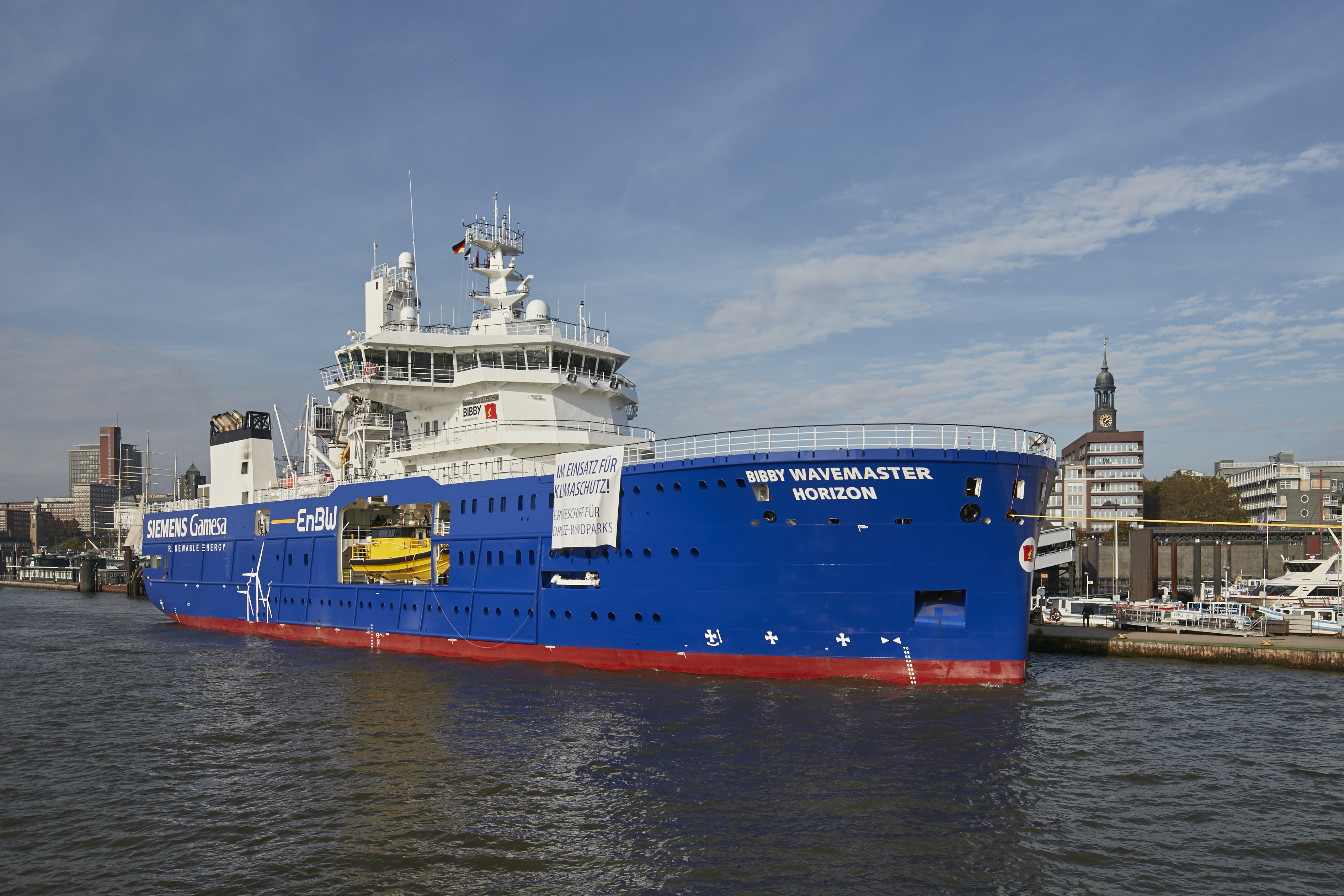 Photo 3: The 90-meter-long special vessel will be used in the future for the smooth operation and maintenance of the two wind power plants, EnBW Hohe See and Albatros, in the North Sea. (Photo: EnBW)
